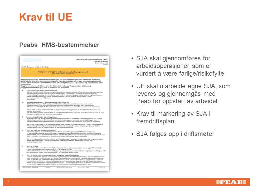 7 Peabs HMS-bestemmelser •SJA skal gjennomføres for arbeidsoperasjoner som er vurdert å være farlige/risikofylte •UE skal utarbeide egne SJA, som leve