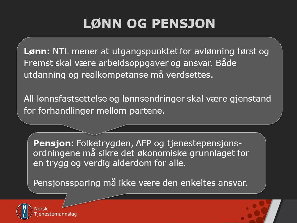 LØNN OG PENSJON Pensjon: Folketrygden, AFP og tjenestepensjons- ordningene må sikre det økonomiske grunnlaget for en trygg og verdig alderdom for alle