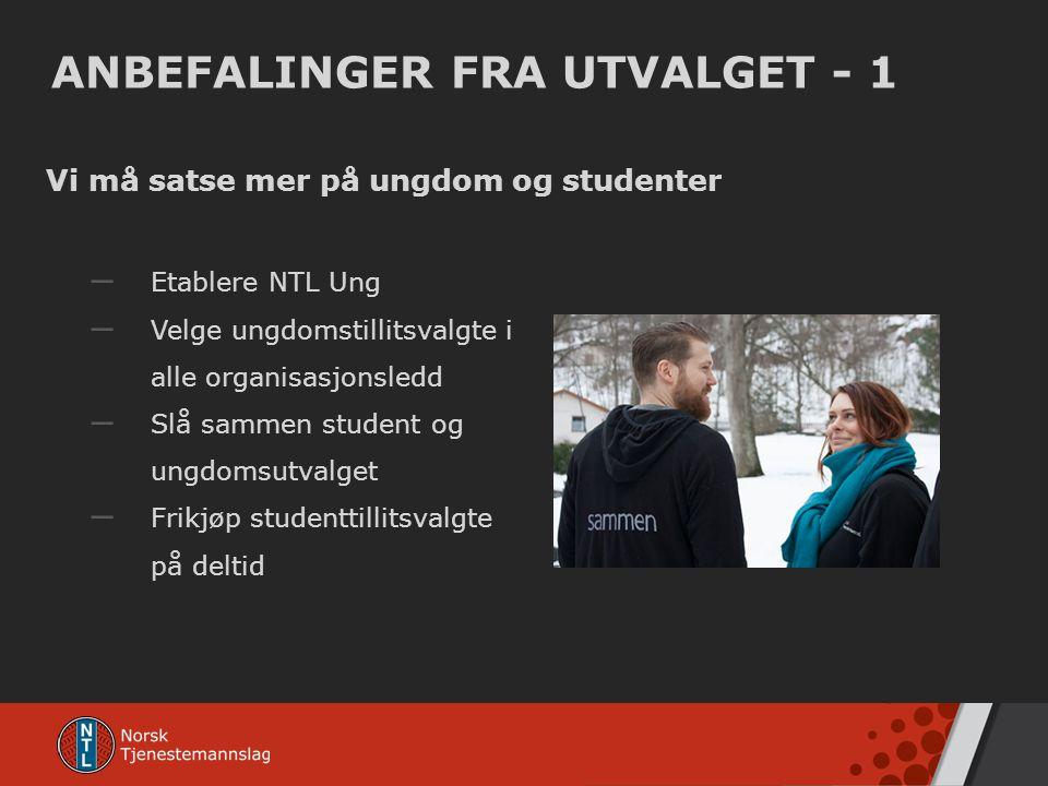 ANBEFALINGER FRA UTVALGET - 1 Vi må satse mer på ungdom og studenter – Etablere NTL Ung – Velge ungdomstillitsvalgte i alle organisasjonsledd – Slå sa