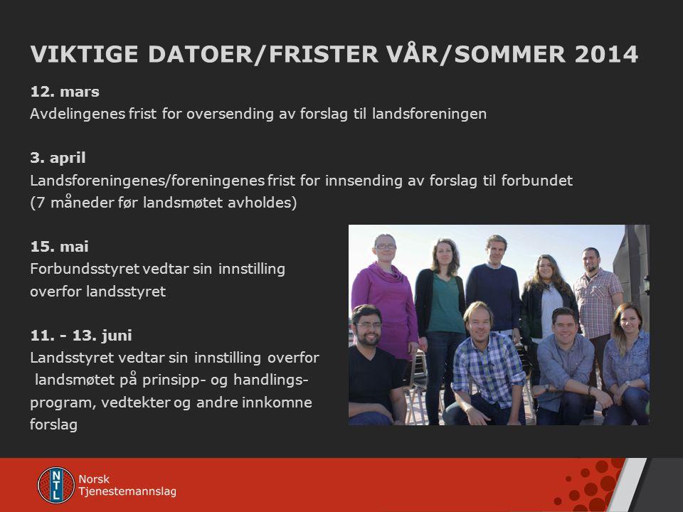 VIKTIGE DATOER/FRISTER VÅR/SOMMER 2014 12. mars Avdelingenes frist for oversending av forslag til landsforeningen 3. april Landsforeningenes/foreninge