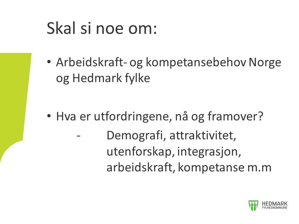 Skal si noe om: • Arbeidskraft- og kompetansebehov Norge og Hedmark fylke • Hva er utfordringene, nå og framover? -Demografi, attraktivitet, utenforsk