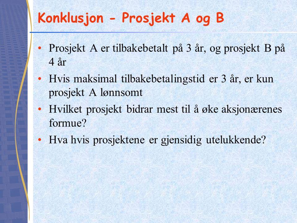 Konklusjon - Prosjekt A og B •Prosjekt A er tilbakebetalt på 3 år, og prosjekt B på 4 år •Hvis maksimal tilbakebetalingstid er 3 år, er kun prosjekt A