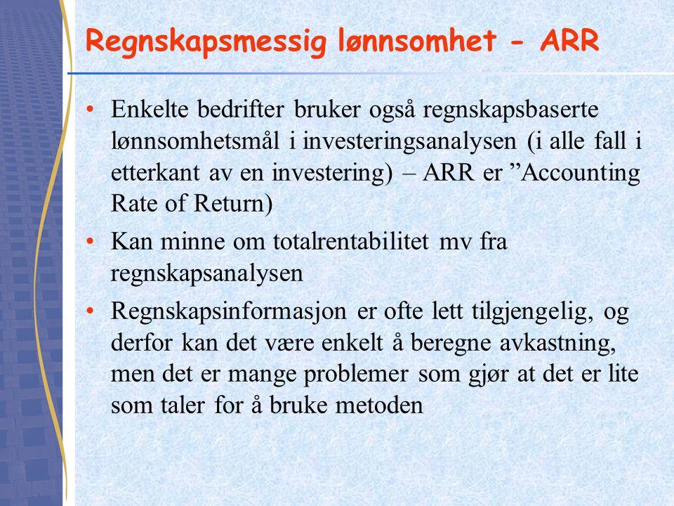 Regnskapsmessig lønnsomhet - ARR •Enkelte bedrifter bruker også regnskapsbaserte lønnsomhetsmål i investeringsanalysen (i alle fall i etterkant av en