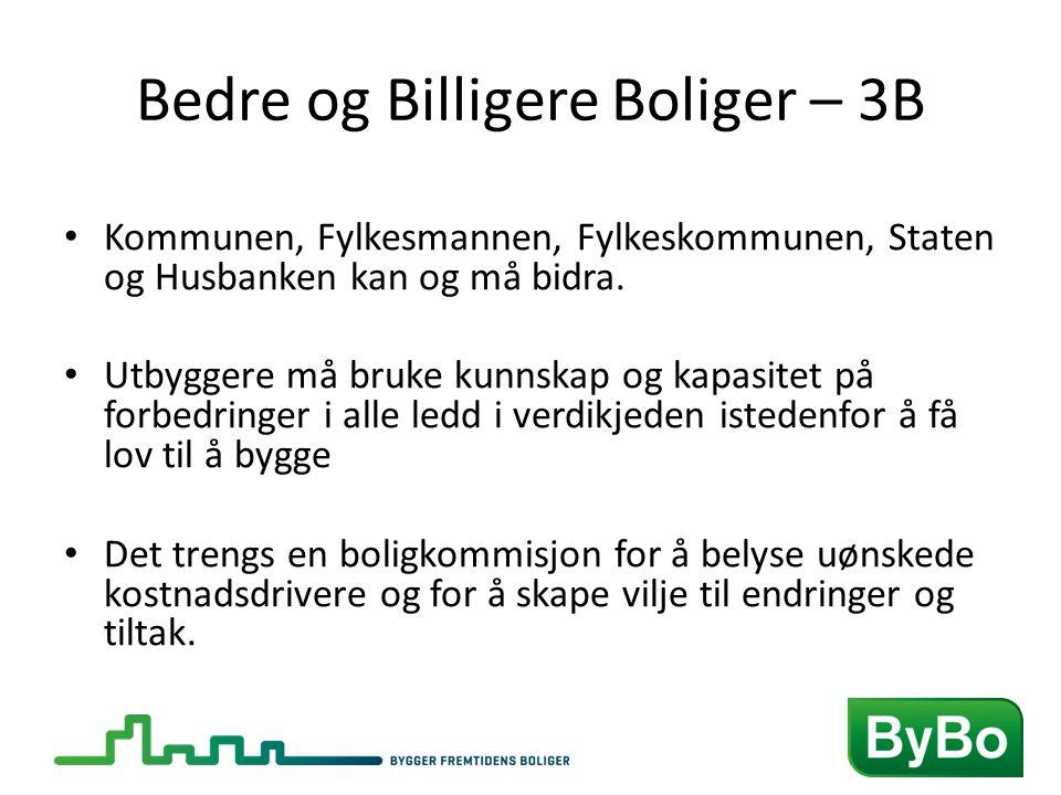 Bedre og Billigere Boliger – 3B • Kommunen, Fylkesmannen, Fylkeskommunen, Staten og Husbanken kan og må bidra.