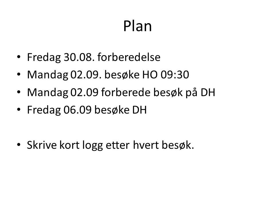 Plan • Fredag 30.08. forberedelse • Mandag 02.09.