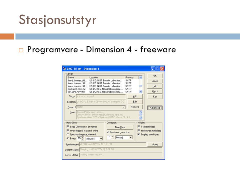 Stasjonsutstyr  Programvare - Dimension 4 - freeware