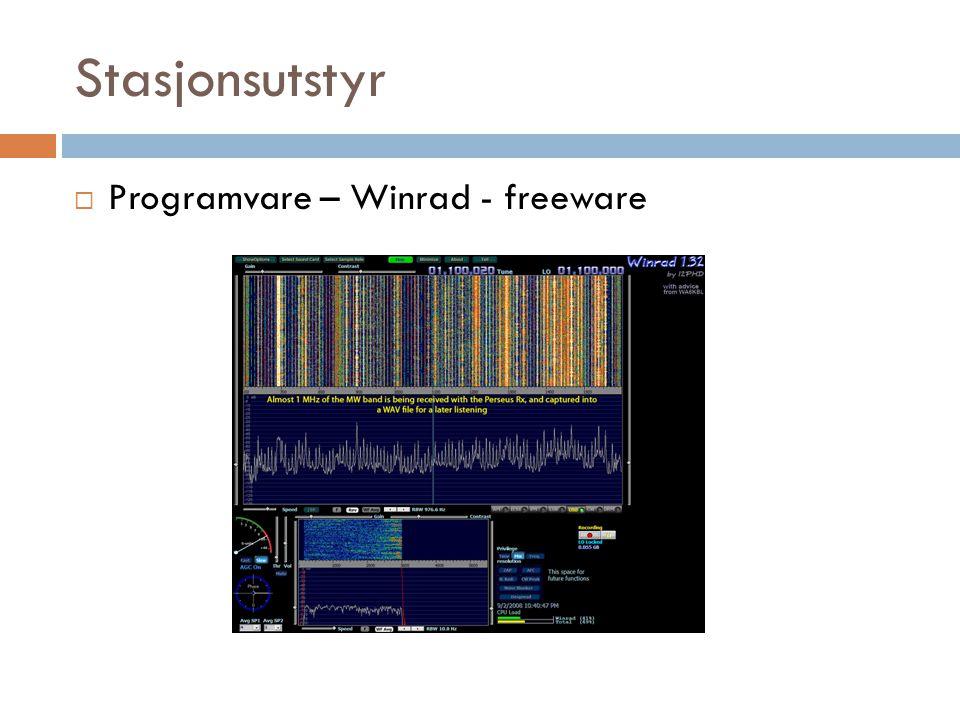 Stasjonsutstyr  Programvare – Winrad - freeware