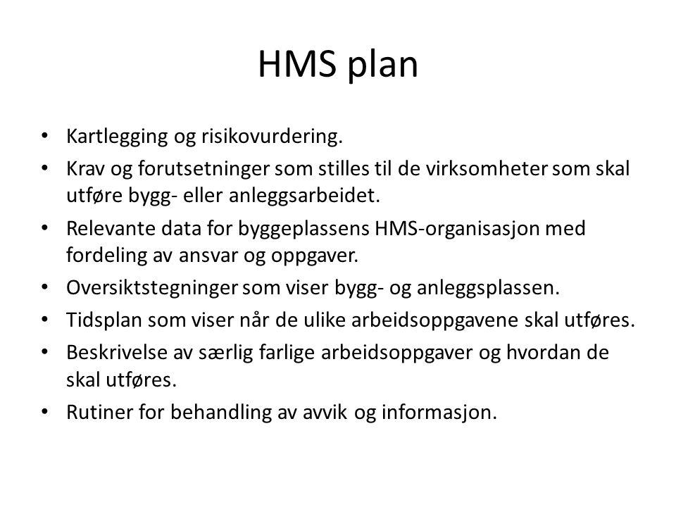 HMS plan • Kartlegging og risikovurdering. • Krav og forutsetninger som stilles til de virksomheter som skal utføre bygg- eller anleggsarbeidet. • Rel