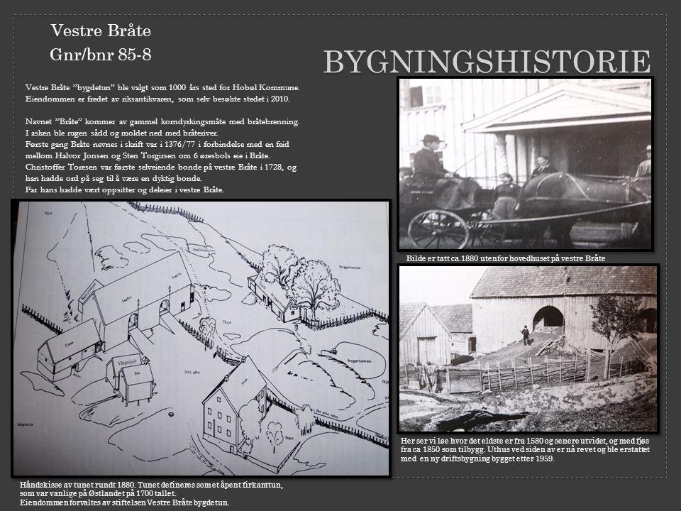 """BYGNINGSHISTORIE Vestre Bråte Gnr/bnr 85-8 Vestre Bråte """"bygdetun"""" ble valgt som 1000 års sted for Hobøl Kommune. Eiendommen er fredet av riksantikvar"""