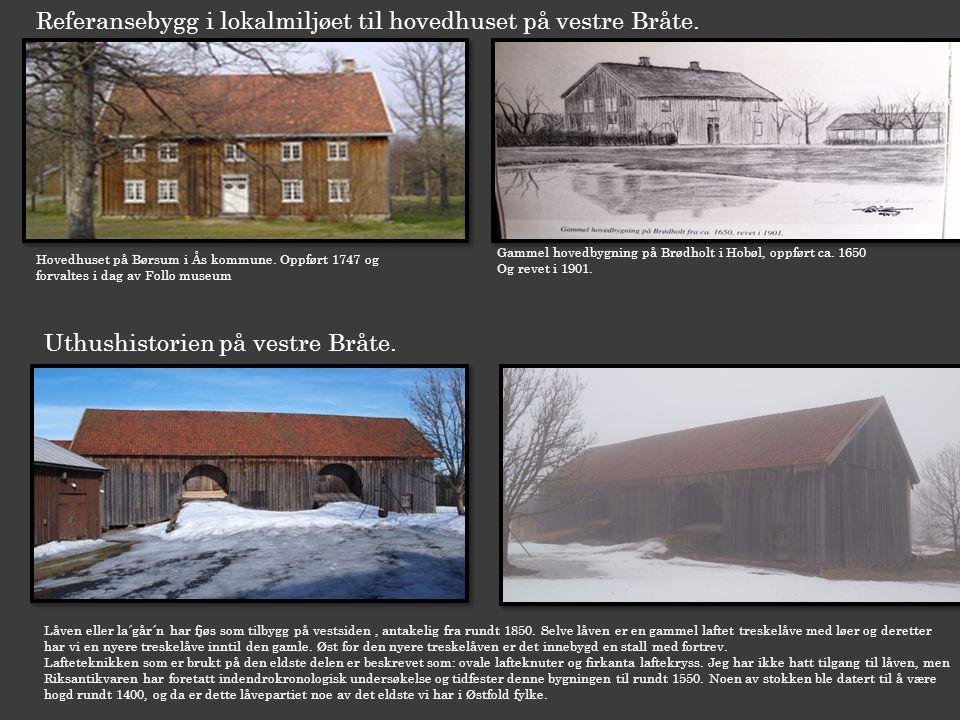 Referansebygg i lokalmiljøet til hovedhuset på vestre Bråte. Hovedhuset på Børsum i Ås kommune. Oppført 1747 og forvaltes i dag av Follo museum Gammel