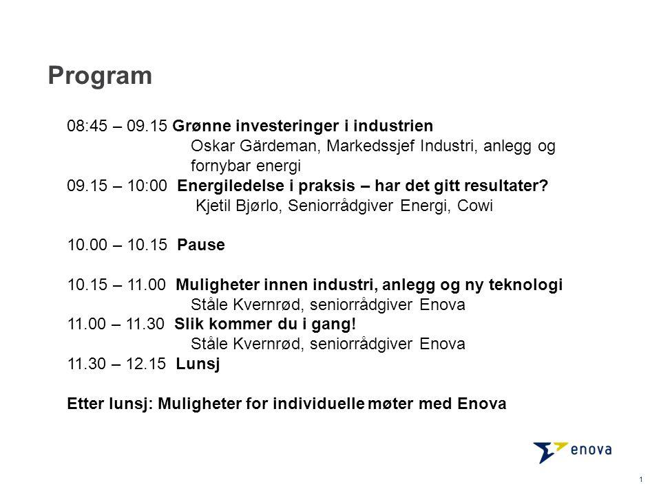 Program 1 08:45 – 09.15 Grønne investeringer i industrien Oskar Gärdeman, Markedssjef Industri, anlegg og fornybar energi 09.15 – 10:00 Energiledelse
