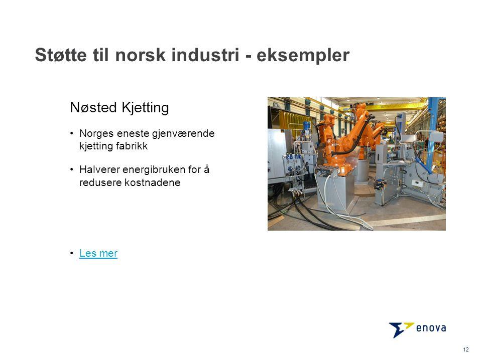 Støtte til norsk industri - eksempler 12 •Norges eneste gjenværende kjetting fabrikk •Halverer energibruken for å redusere kostnadene •Les merLes mer