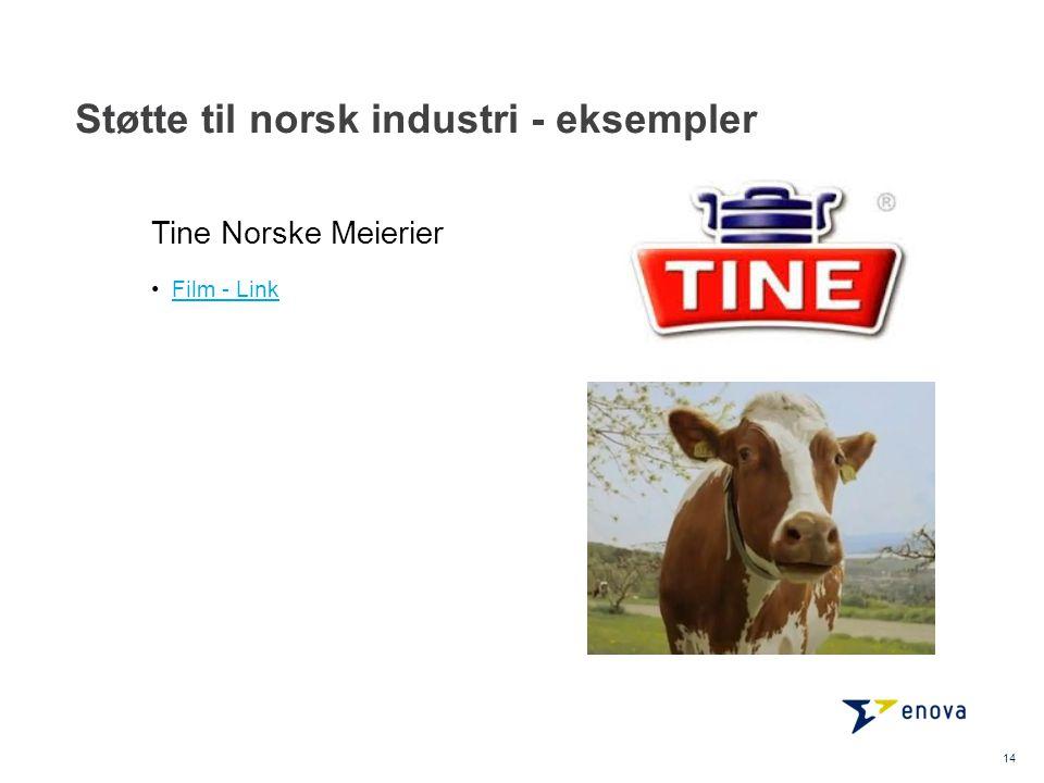 Støtte til norsk industri - eksempler 14 •Film - LinkFilm - Link Tine Norske Meierier