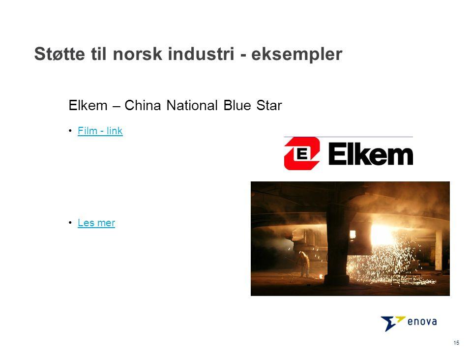 Støtte til norsk industri - eksempler 15 •Film - linkFilm - link •Les merLes mer Elkem – China National Blue Star