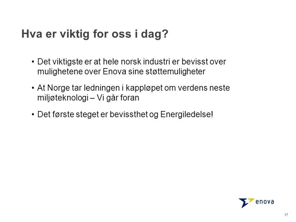 Hva er viktig for oss i dag? 17 •Det viktigste er at hele norsk industri er bevisst over mulighetene over Enova sine støttemuligheter •At Norge tar le