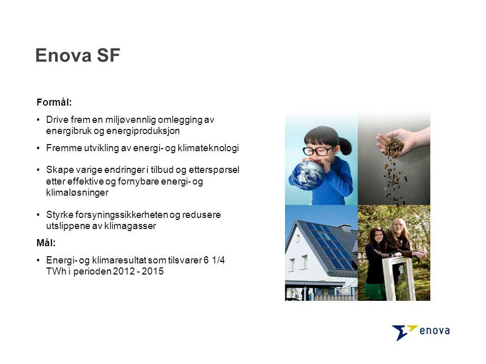 Enova SF Formål: •Drive frem en miljøvennlig omlegging av energibruk og energiproduksjon •Fremme utvikling av energi- og klimateknologi •Skape varige