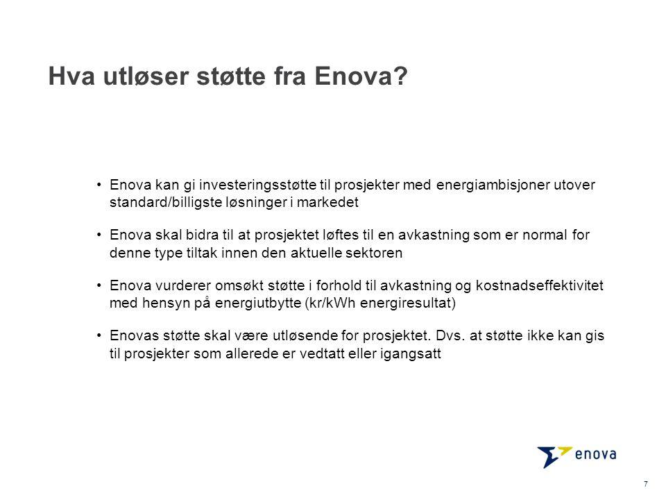 Hva utløser støtte fra Enova? •Enova kan gi investeringsstøtte til prosjekter med energiambisjoner utover standard/billigste løsninger i markedet •Eno