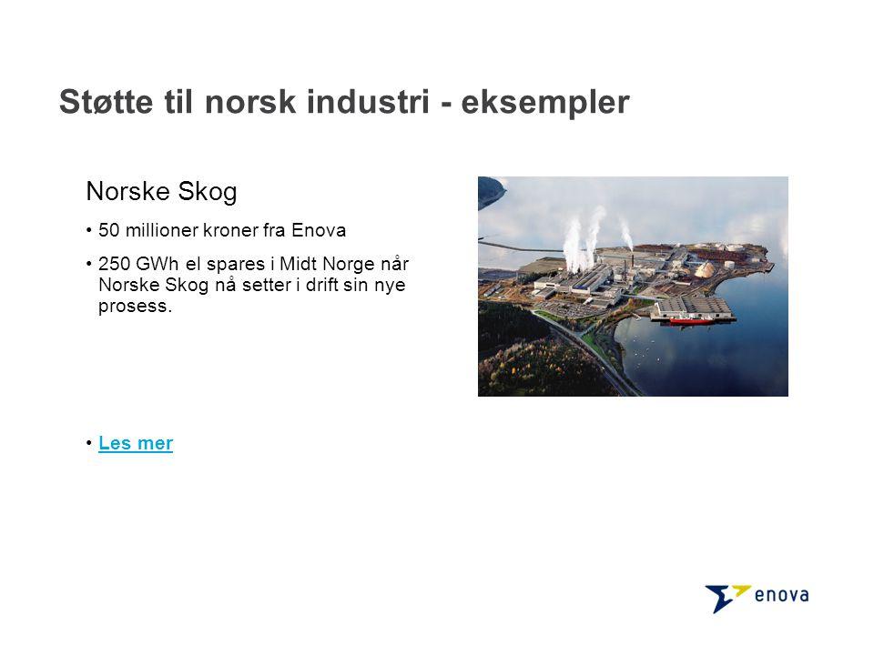 Norske Skog •50 millioner kroner fra Enova •250 GWh el spares i Midt Norge når Norske Skog nå setter i drift sin nye prosess. •Les merLes mer