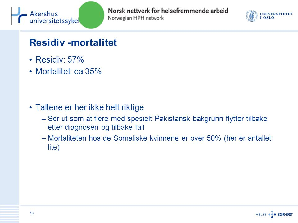 Residiv -mortalitet •Residiv: 57% •Mortalitet: ca 35% •Tallene er her ikke helt riktige –Ser ut som at flere med spesielt Pakistansk bakgrunn flytter