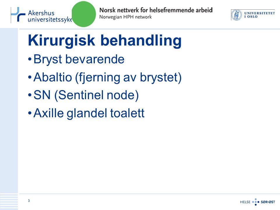 Kirurgisk behandling •Bryst bevarende •Abaltio (fjerning av brystet) •SN (Sentinel node) •Axille glandel toalett 3
