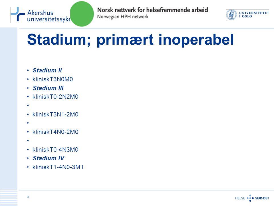 Stadium; primært inoperabel •Stadium II •kliniskT3N0M0 •Stadium III •kliniskT0-2N2M0 • •kliniskT3N1-2M0 • •kliniskT4N0-2M0 • •kliniskT0-4N3M0 •Stadium