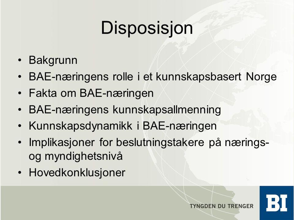 Disposisjon •Bakgrunn •BAE-næringens rolle i et kunnskapsbasert Norge •Fakta om BAE-næringen •BAE-næringens kunnskapsallmenning •Kunnskapsdynamikk i B