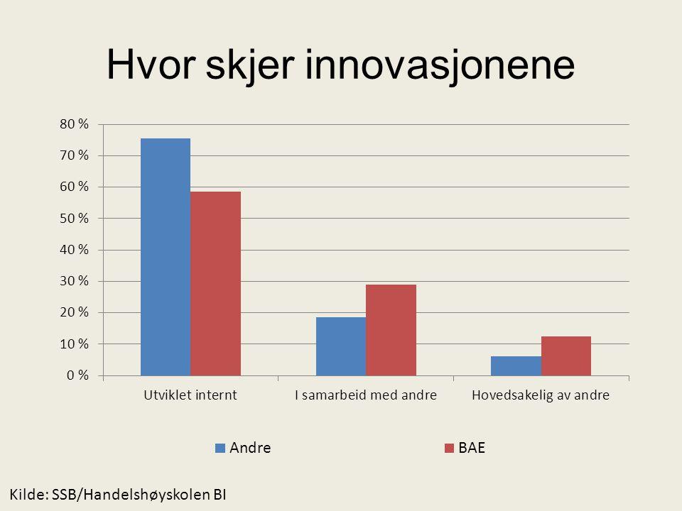 Hvor skjer innovasjonene Kilde: SSB/Handelshøyskolen BI