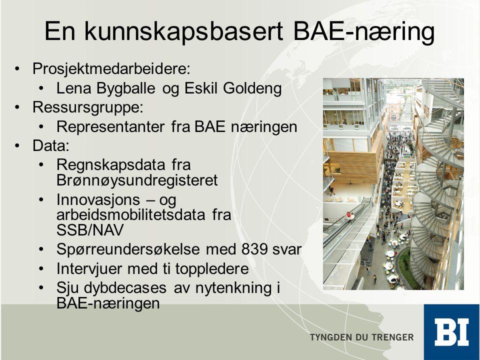 En kunnskapsbasert BAE-næring •Prosjektmedarbeidere: •Lena Bygballe og Eskil Goldeng •Ressursgruppe: •Representanter fra BAE næringen •Data: •Regnskap