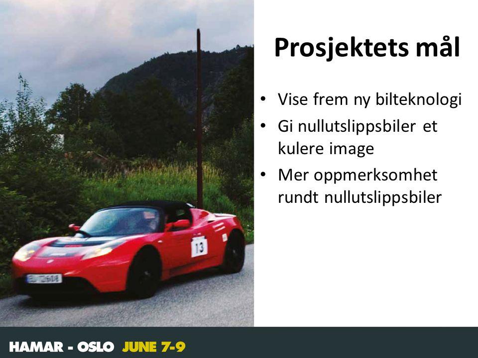 Prosjektets mål • Vise frem ny bilteknologi • Gi nullutslippsbiler et kulere image • Mer oppmerksomhet rundt nullutslippsbiler