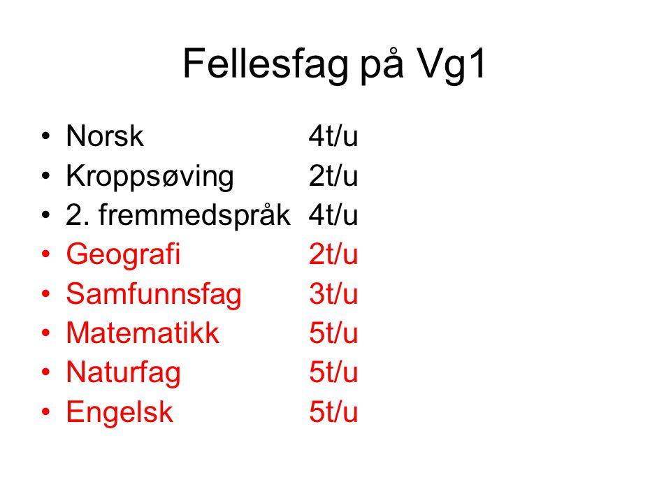 Fellesfag på Vg1 •Norsk4t/u •Kroppsøving2t/u •2. fremmedspråk4t/u •Geografi2t/u •Samfunnsfag3t/u •Matematikk5t/u •Naturfag5t/u •Engelsk5t/u