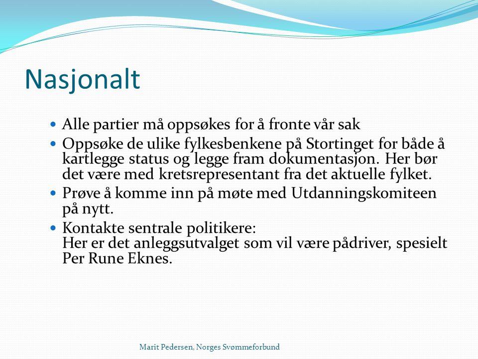 Marit Pedersen, Norges Svømmeforbund Nasjonalt  Alle partier må oppsøkes for å fronte vår sak  Oppsøke de ulike fylkesbenkene på Stortinget for både