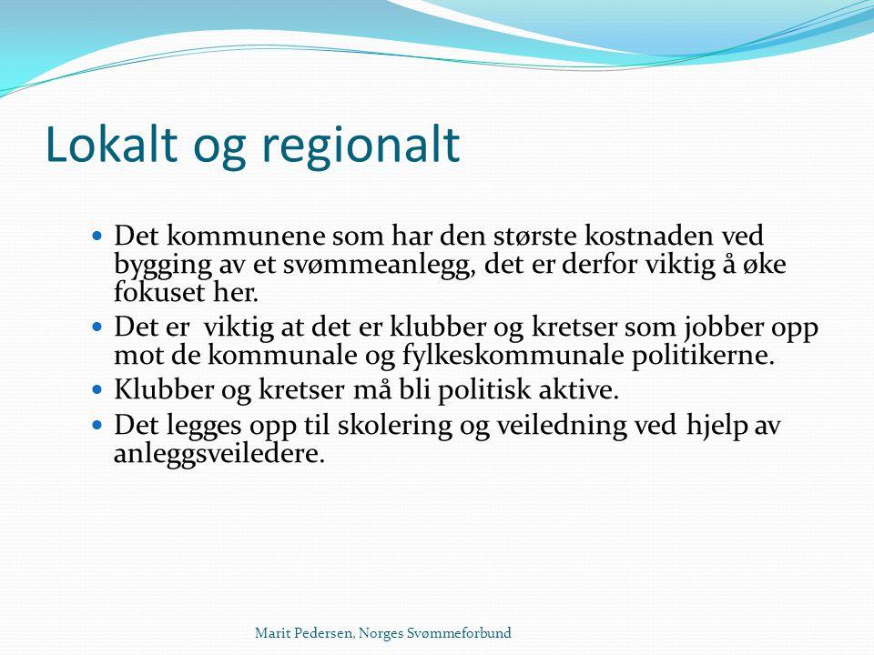 Marit Pedersen, Norges Svømmeforbund Lokalt og regionalt  Det kommunene som har den største kostnaden ved bygging av et svømmeanlegg, det er derfor v