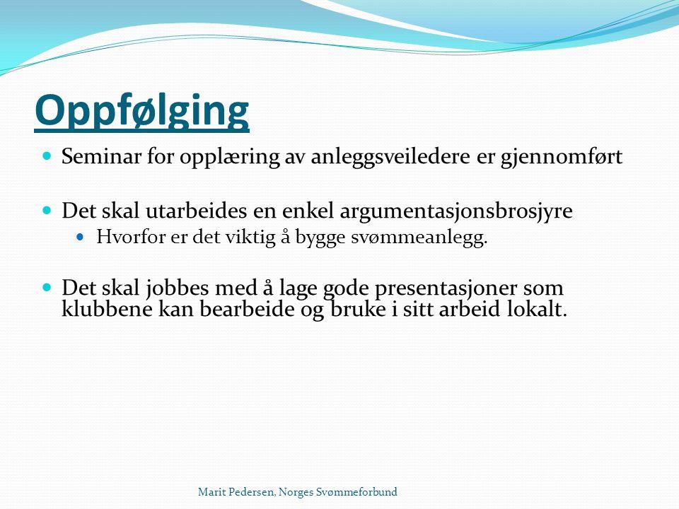 Marit Pedersen, Norges Svømmeforbund Oppfølging  Seminar for opplæring av anleggsveiledere er gjennomført  Det skal utarbeides en enkel argumentasjo