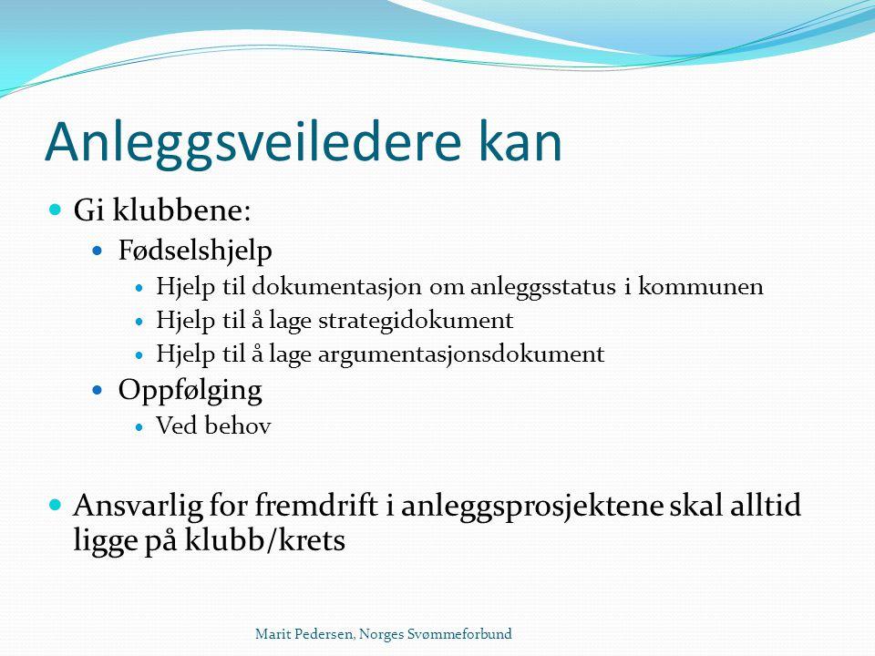 Marit Pedersen, Norges Svømmeforbund Anleggsveiledere kan  Gi klubbene:  Fødselshjelp  Hjelp til dokumentasjon om anleggsstatus i kommunen  Hjelp