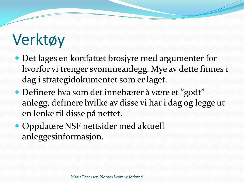 Marit Pedersen, Norges Svømmeforbund Verktøy  Det lages en kortfattet brosjyre med argumenter for hvorfor vi trenger svømmeanlegg. Mye av dette finne