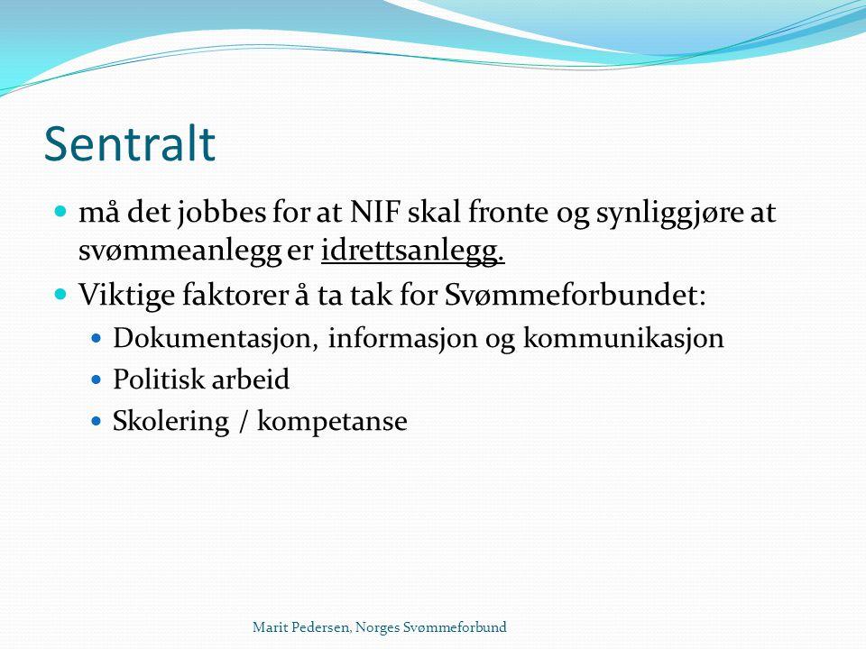 Marit Pedersen, Norges Svømmeforbund Sentralt  må det jobbes for at NIF skal fronte og synliggjøre at svømmeanlegg er idrettsanlegg.  Viktige faktor