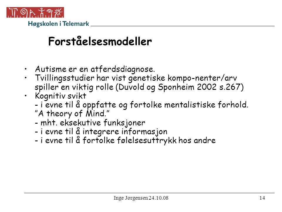Inge Jørgensen 24.10.0814 Forståelsesmodeller •Autisme er en atferdsdiagnose.