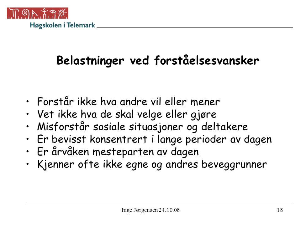 Inge Jørgensen 24.10.0819 Reaksjoner ved belastninger •Lei seg, fortvile, sint, stresset •Vegrer seg, initiativløshet, mismot, depresjon •Angst, høy kroppslig beredskap •Ukonsentrert, trøtt og sliten