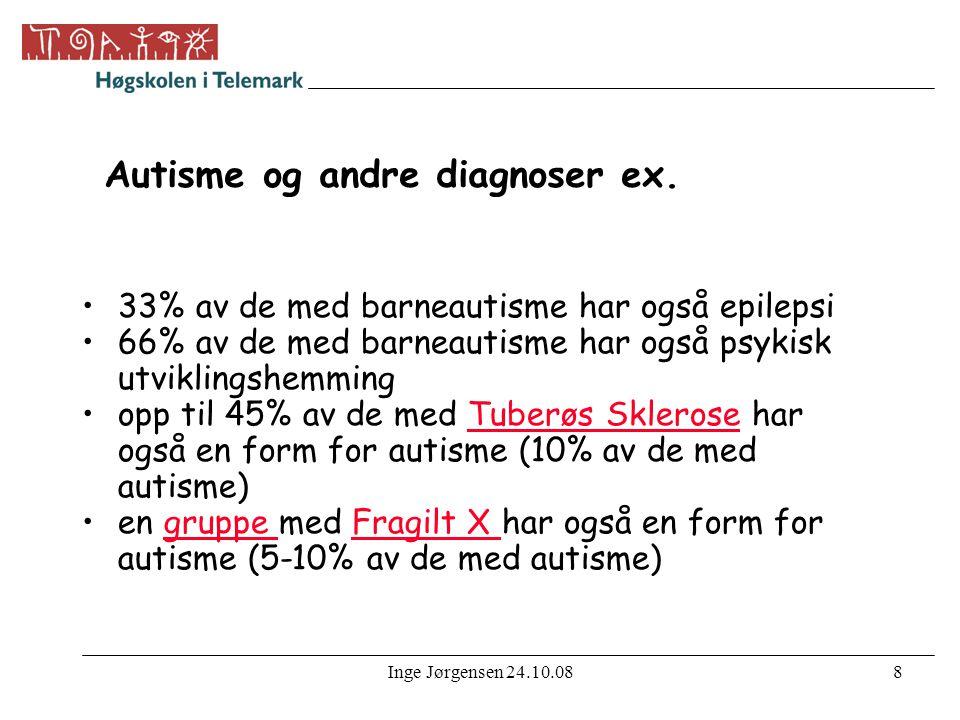 Inge Jørgensen 24.10.089 Årsaker •Ingen har lykkes med å finne en nærmere forklaring på funksjonssvikten ved autisme •Tvillingsstudier tyder på en hjerneorganisk svikt, ev.