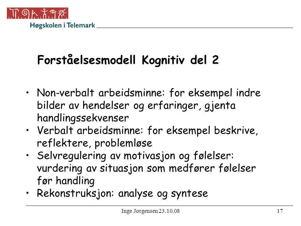 Inge Jørgensen 23.10.0817 Forståelsesmodell Kognitiv del 2 •Non-verbalt arbeidsminne: for eksempel indre bilder av hendelser og erfaringer, gjenta han
