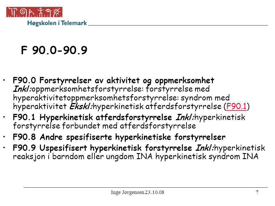 Inge Jørgensen 23.10.087 F 90.0-90.9 •F90.0 Forstyrrelser av aktivitet og oppmerksomhet Inkl:oppmerksomhetsforstyrrelse: forstyrrelse med hyperaktivit
