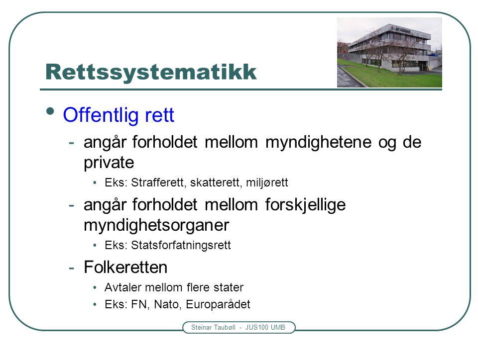 Steinar Taubøll - JUS100 UMB Rettssystematikk • Offentlig rett -angår forholdet mellom myndighetene og de private •Eks: Strafferett, skatterett, miljø