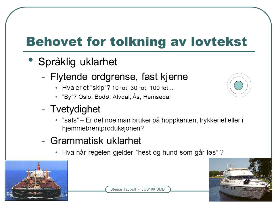Steinar Taubøll - JUS100 UMB Behovet for tolkning av lovtekst • Språklig uklarhet -Flytende ordgrense, fast kjerne •Hva er et skip .