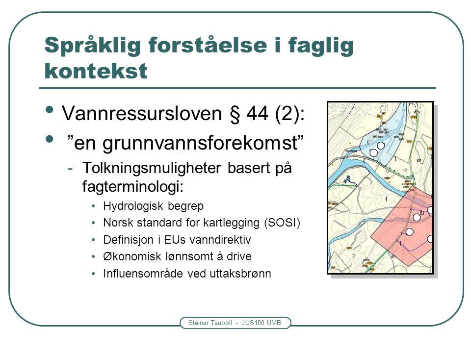 Steinar Taubøll - JUS100 UMB Språklig forståelse i faglig kontekst • Vannressursloven § 44 (2): • en grunnvannsforekomst -Tolkningsmuligheter basert på fagterminologi: •Hydrologisk begrep •Norsk standard for kartlegging (SOSI) •Definisjon i EUs vanndirektiv •Økonomisk lønnsomt å drive •Influensområde ved uttaksbrønn