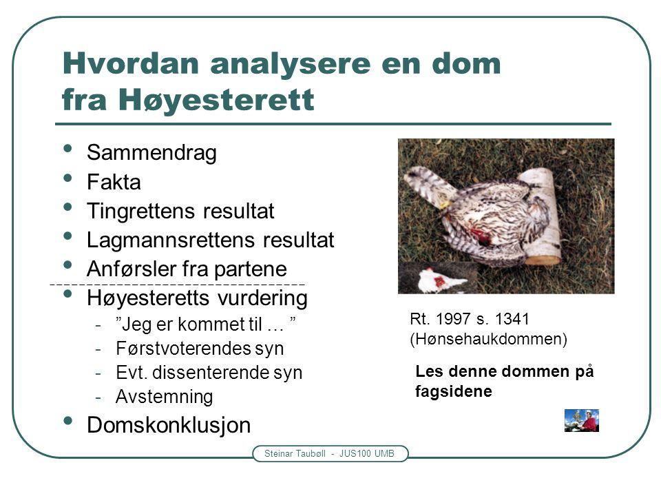 Steinar Taubøll - JUS100 UMB Hvordan analysere en dom fra Høyesterett • Sammendrag • Fakta • Tingrettens resultat • Lagmannsrettens resultat • Anførsler fra partene • Høyesteretts vurdering - Jeg er kommet til … -Førstvoterendes syn -Evt.