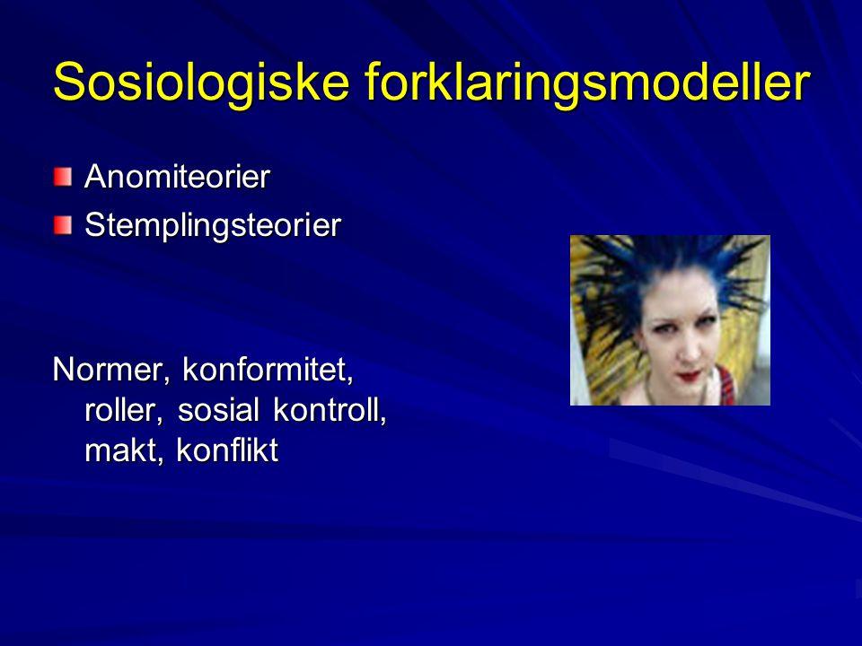 Sosiologiske forklaringsmodeller AnomiteorierStemplingsteorier Normer, konformitet, roller, sosial kontroll, makt, konflikt