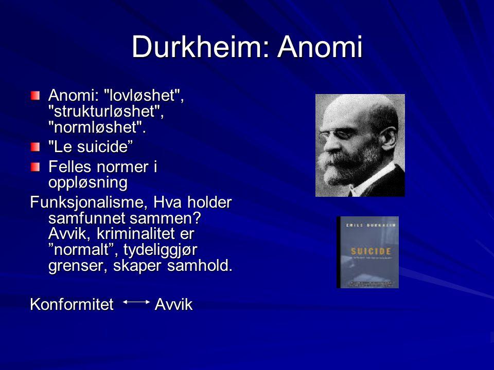 Durkheim: Anomi Anomi: