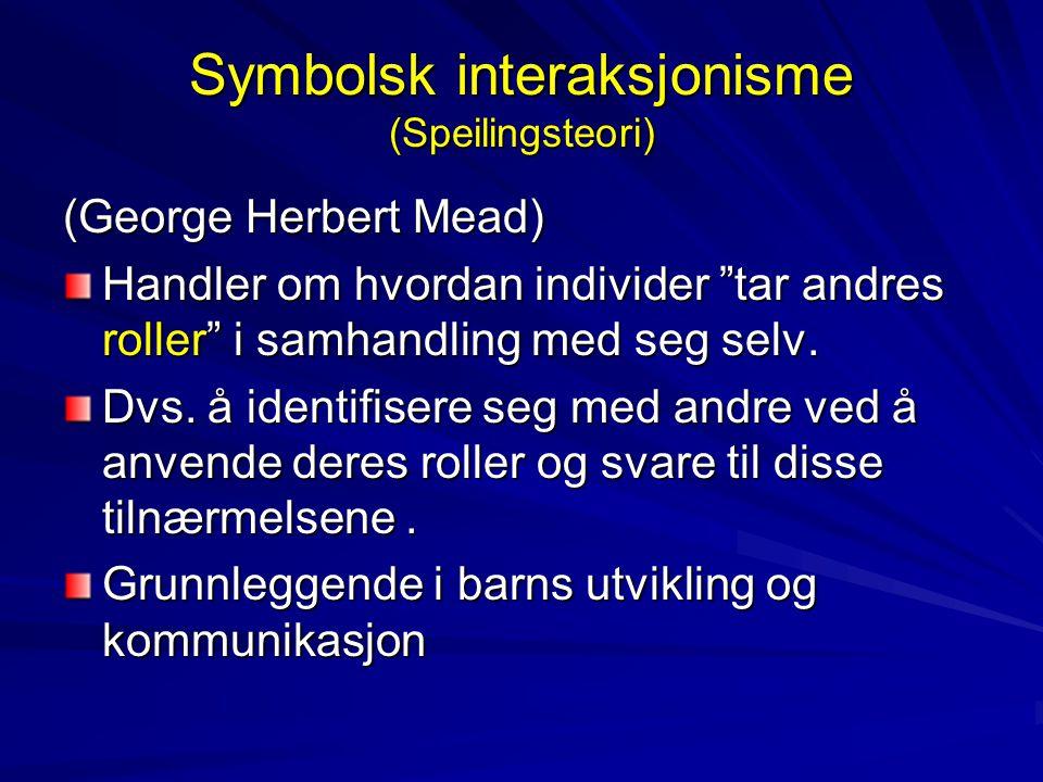 """Symbolsk interaksjonisme (Speilingsteori) (George Herbert Mead) Handler om hvordan individer """"tar andres roller"""" i samhandling med seg selv. Dvs. å id"""