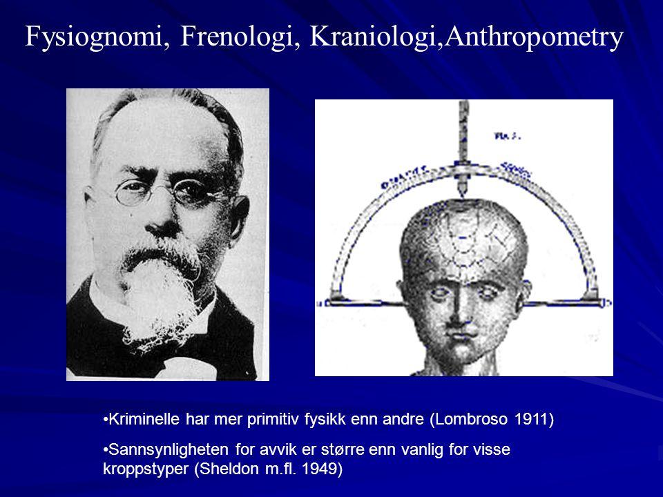 Fysiognomi, Frenologi, Kraniologi,Anthropometry •Kriminelle har mer primitiv fysikk enn andre (Lombroso 1911) •Sannsynligheten for avvik er større enn