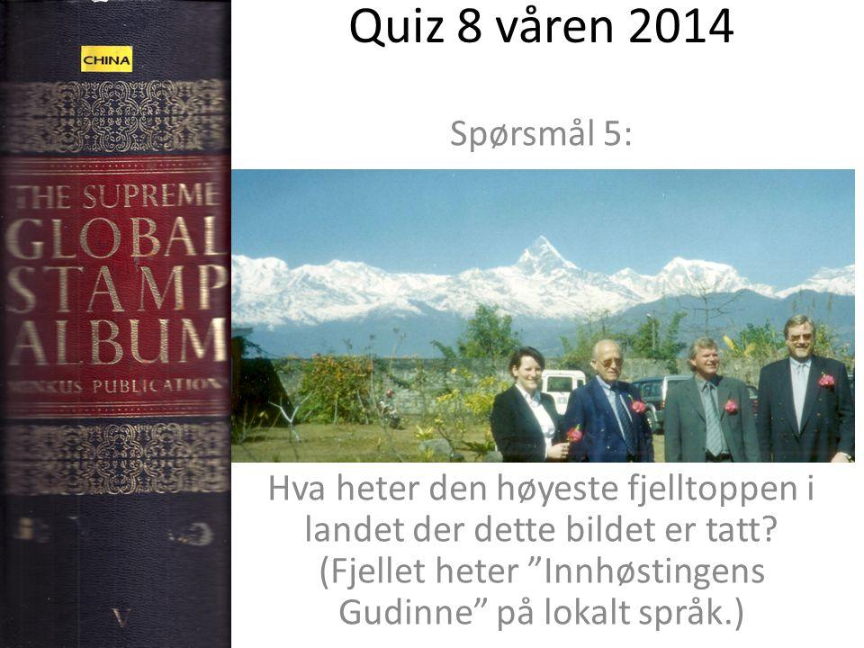 """Quiz 8 våren 2014 Spørsmål 5: Hva heter den høyeste fjelltoppen i landet der dette bildet er tatt? (Fjellet heter """"Innhøstingens Gudinne"""" på lokalt sp"""